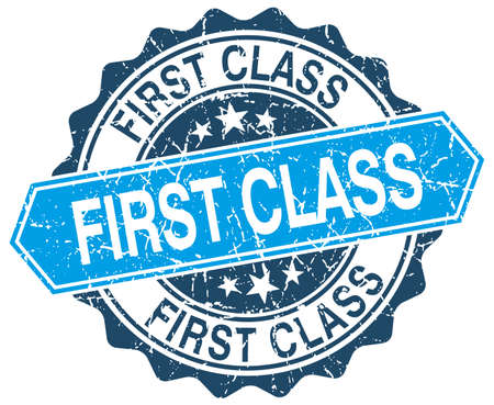 first class: first class blue round grunge stamp on white