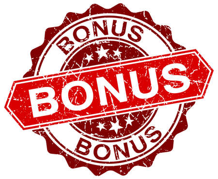 bonus: bonus red round grunge stamp on white