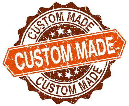 custom made: custom made orange round grunge stamp on white