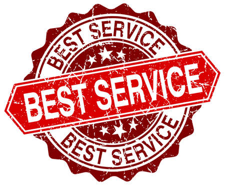 best service: best service red round grunge stamp on white