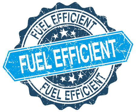 efficient: fuel efficient blue round grunge stamp on white