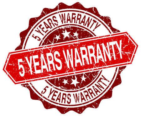 5 years: 5 years warranty red round grunge stamp on white