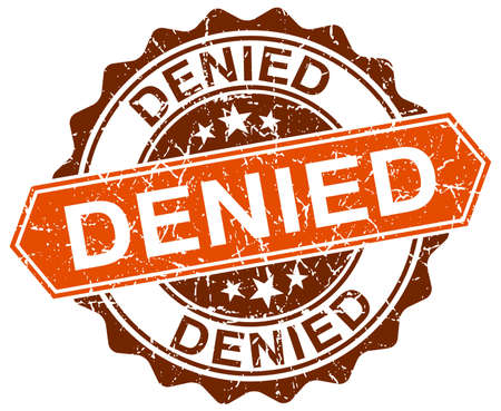 denied: denied orange round grunge stamp on white