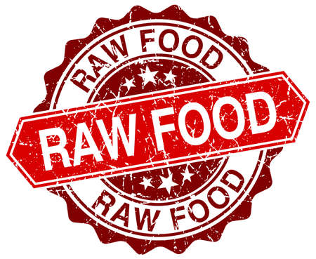 raw food: raw food red round grunge stamp on white
