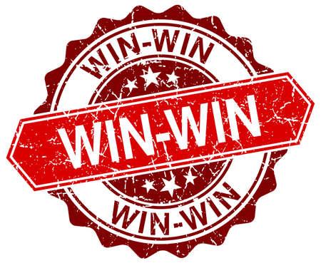 win-win red round grunge stamp on white