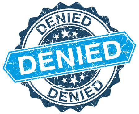 denied: negado azul grunge sello redondo en blanco