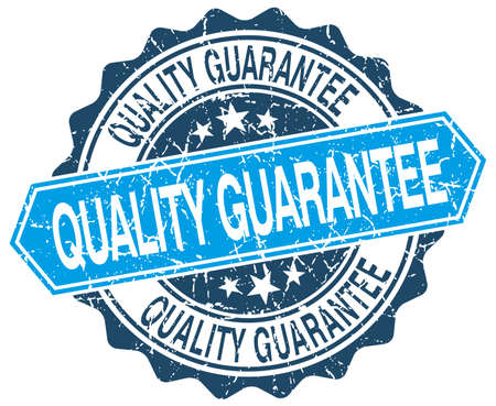 quality guarantee: quality guarantee blue round grunge stamp on white