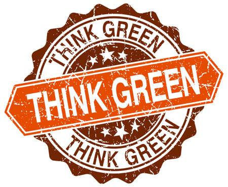 think green: think green orange round grunge stamp on white