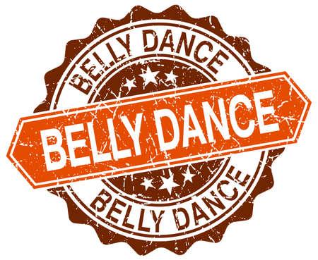 belly dance: belly dance orange round grunge stamp on white Illustration