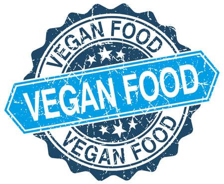 vegan food: vegan food blue round grunge stamp on white