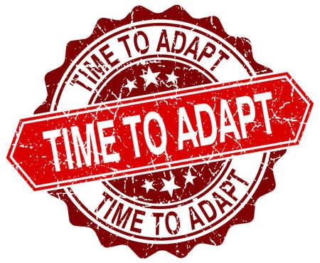 adapt: time to adapt red round grunge stamp on white