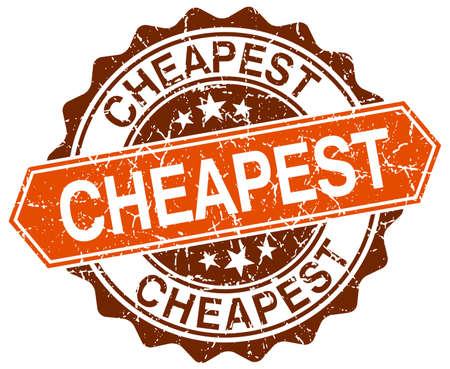 cheapest: cheapest orange round grunge stamp on white