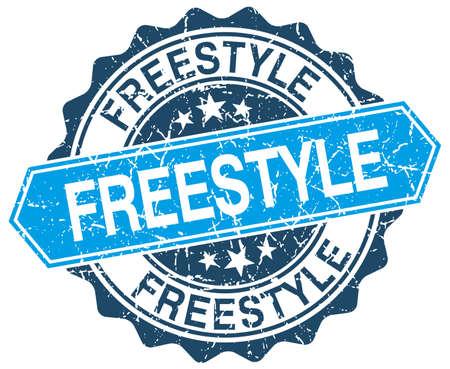 freestyle: freestyle blue round grunge stamp on white