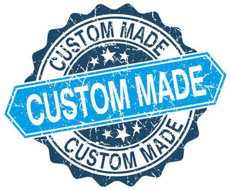 custom made: custom made blue round grunge stamp on white