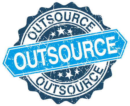 outsource: outsource blue round grunge stamp on white Illustration