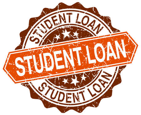 student loan: student loan orange round grunge stamp on white