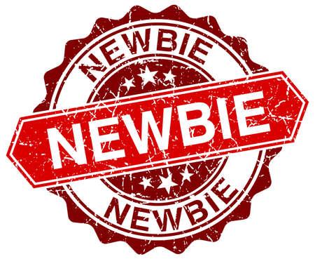 newbie: newbie red round grunge stamp on white Illustration