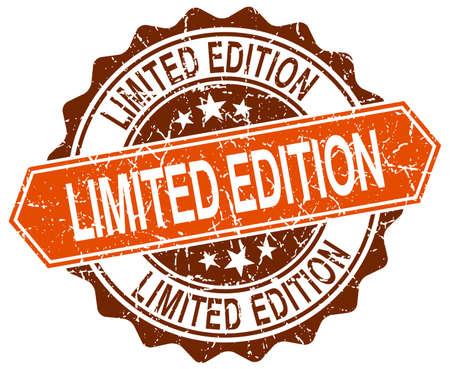 limited edition: limited edition orange round grunge stamp on white