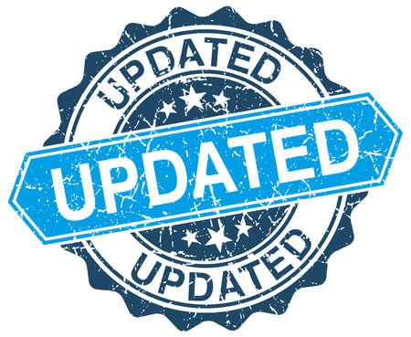 updated: actualizado azul grunge sello redondo en blanco Vectores