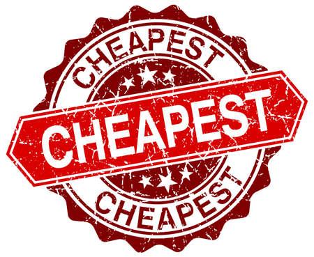 cheapest: cheapest red round grunge stamp on white Illustration