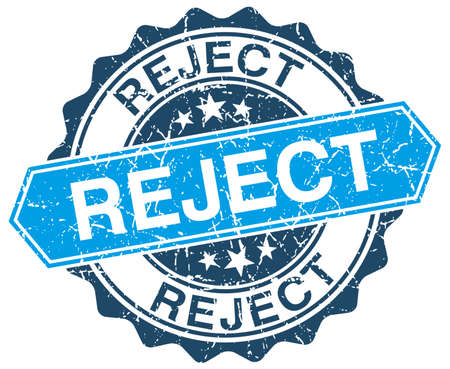 reject: reject blue round grunge stamp on white Illustration