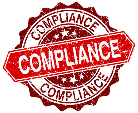 compliance: compliance red round grunge stamp on white Illustration
