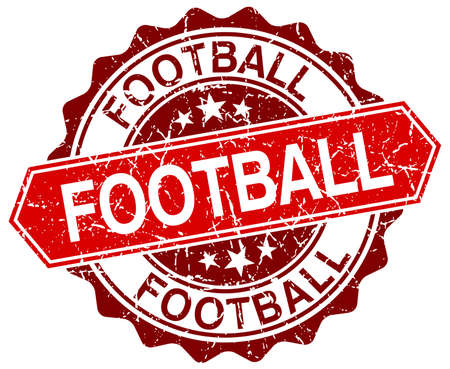 grunge football: football red round grunge stamp on white