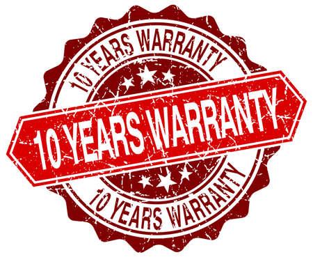 10 years: 10 years warranty red round grunge stamp on white
