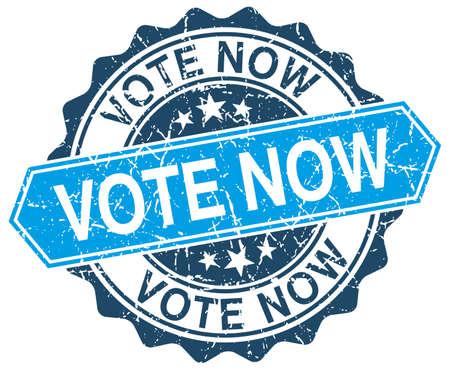 vote now blue round grunge stamp on white