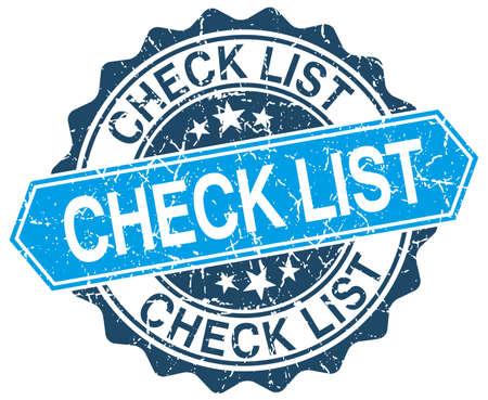 blue grunge background: check list blue round grunge stamp on white