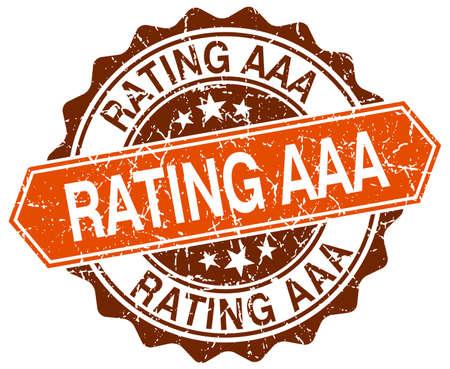 aaa: rating aaa orange round grunge stamp on white