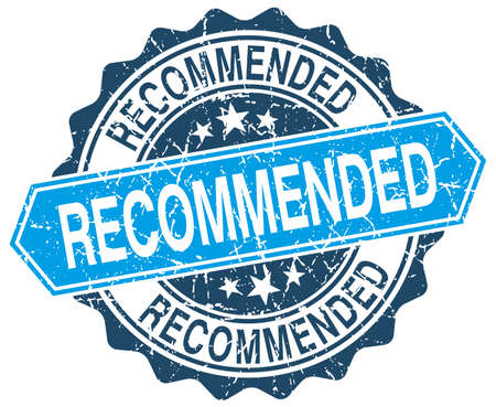recommended: recommended blue round grunge stamp on white Illustration
