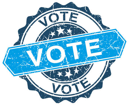 democrats: votar azul grunge sello redondo en blanco
