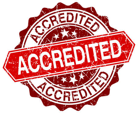 accredited: accredited red round grunge stamp on white