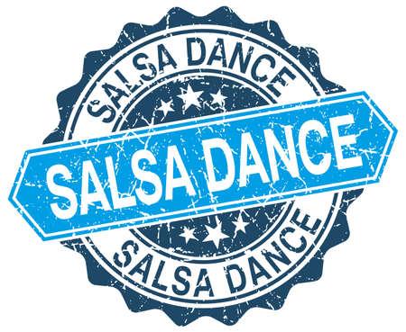 salsa dance: salsa dance blue round grunge stamp on white