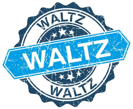waltz: waltz blue round grunge stamp on white Illustration