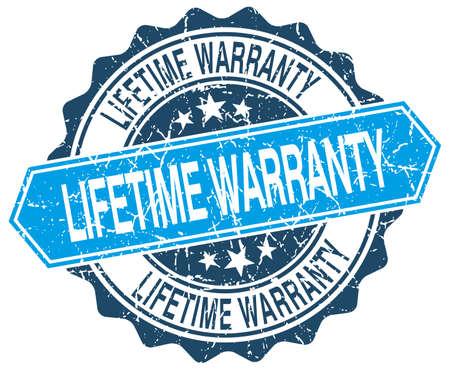 lifetime warranty blue round grunge stamp on white
