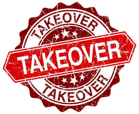 takeover: takeover red round grunge stamp on white Illustration