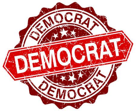 democrats: dem�crata rojo grunge sello redondo en blanco