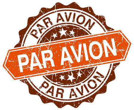 par: par avion orange round grunge stamp on white Illustration