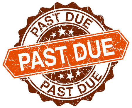 past due: past due orange round grunge stamp on white