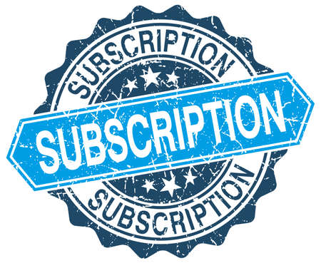 subscription: subscription blue round grunge stamp on white