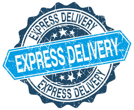 express delivery: express delivery blue round grunge stamp on white