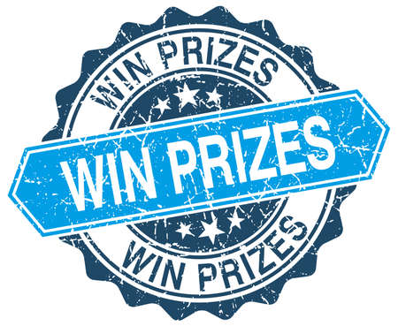 win win: win prizes blue round grunge stamp on white