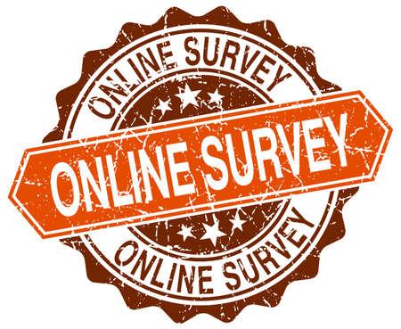 online survey: online survey orange round grunge stamp on white Illustration