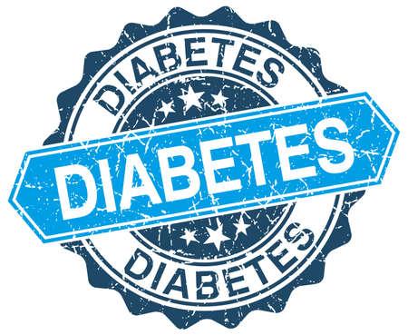 diabetes: diabetes azul grunge sello redondo en blanco Vectores