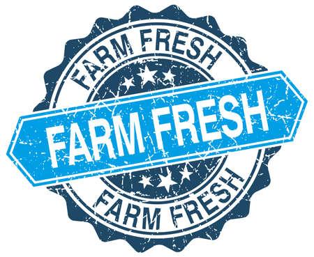 farm fresh: Farm Fresh rotonda blu grunge timbro su bianco