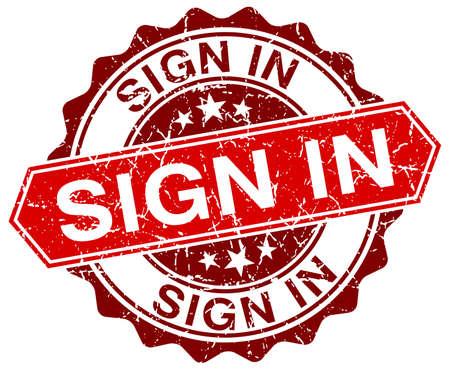sign in: loggen Sie sich ein rot rund Grunge-Stempel auf wei� Illustration