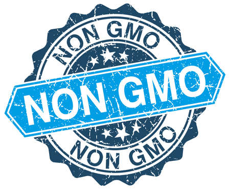 non: non gmo blue round grunge stamp on white Illustration