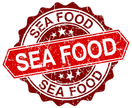 sea food: sea food red round grunge stamp on white